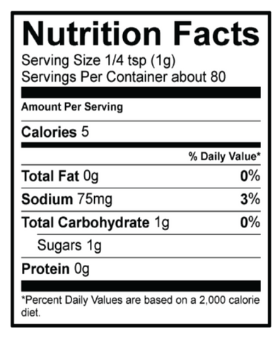 Nutrition Fact Panel Maple Bacon Shake