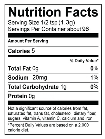 Alotta Bacon Dip Mix Nutrition Panel