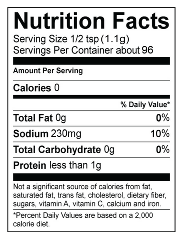 Nutrition Panel French Onion Dip Mix