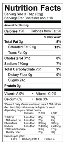 French Vanilla Cappuccino Mix Nutrition Panel