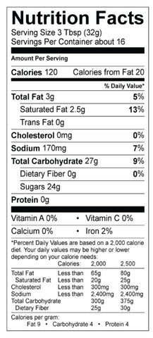 White Chocolate Caramel Lattee Nutrition Panel