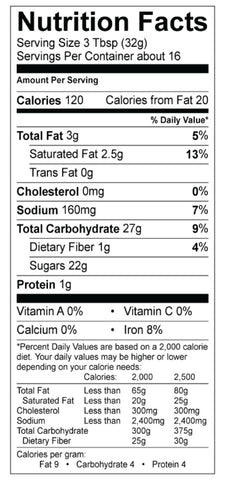 Dark Chocolate Hot Coca Mix Nutrition Panel