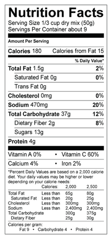Apple Cinnamon Pancake Mix Nutrition Panel