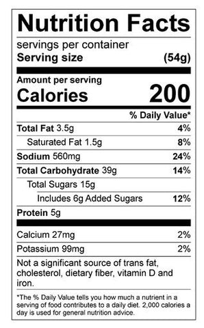 Banana Peanut Butter Pancake Nutrition Panel