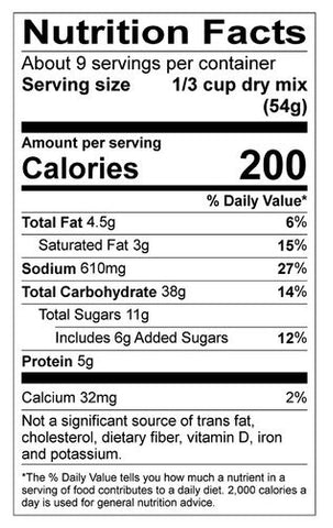Cinnamon Swirl Pancake Mix Nutrition Panel