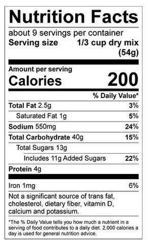 Cookies and Cream Pancake Mix Nutrition Panel