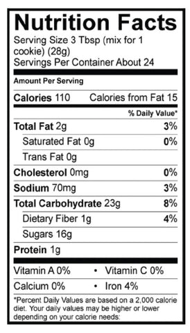 Gluten-Free Chocolate Chip Cookie Mix Nutrition Panel
