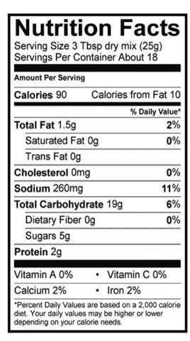 Gluten-Free Chocolate Chip Pancake Nutrition Panel
