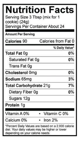 Gluten-Free Peanut Butter Cookie Mix Nutrition Panel