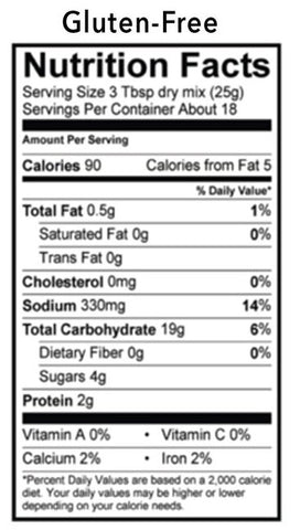 Buttermilk Pancake Mix Nutrition Panel