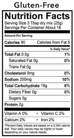 Blueberry Pancake Mix Nutrition Panel