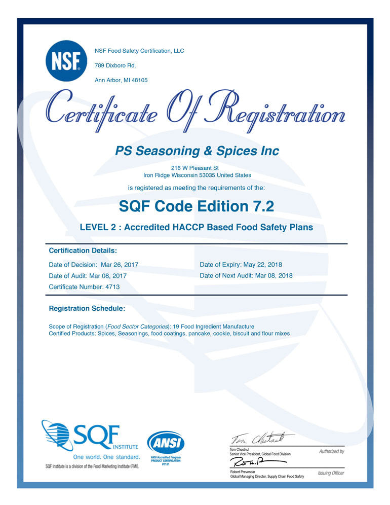 PS Seasoning Achieves SQF Level 2 Certification