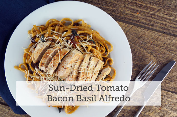 Sun Dried Tomato Bacon Basil Alfredo