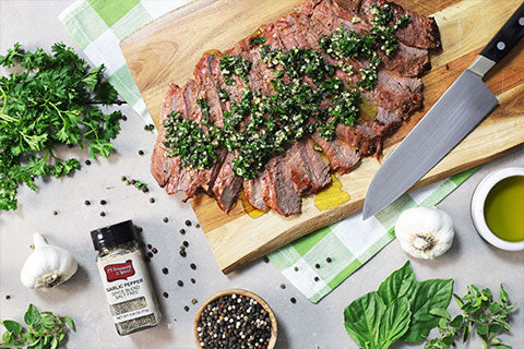 Grilled Flank Steak with Garlic Pepper Verde