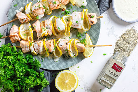 Lemon Pepper Salmon Skewers with Yogurt Sauce