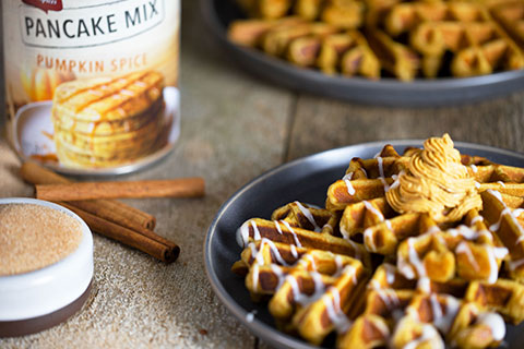 Pumpkin Spice Waffles with Cinnamon Sugar Glaze