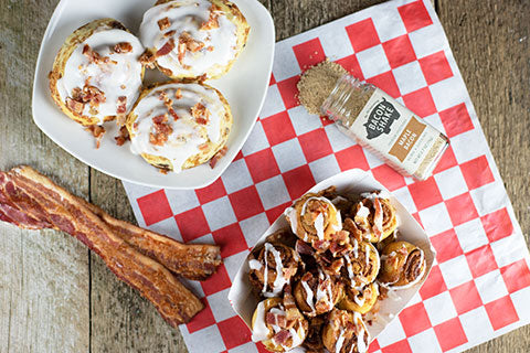 Maple Bacon Cinnamon Roll Bites