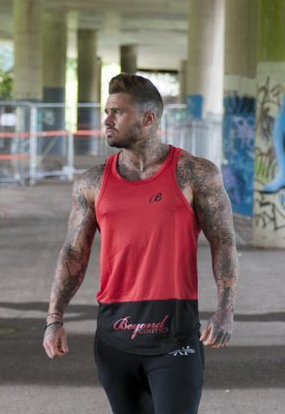 Beyond Genetics PRO FIT SCRIPT RED AND BLACK LIFESTYLE STRINGER VEST