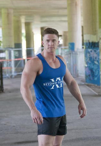 Beyond Genetics PRO FIT BODYBUILDING STRINGER VEST ROYAL BLUE