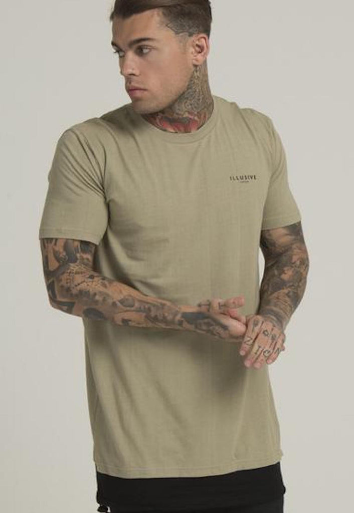 Illusive London A PARACHUTE HEM TEE – KHAKI