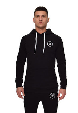 Unique Physique SIGNATURE FITTED HOODED TOP BLACK
