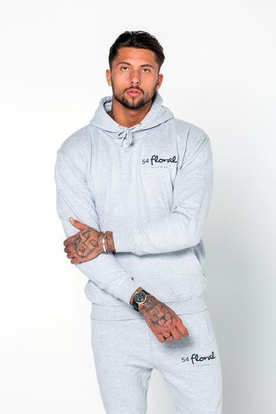 54 FLORAL EMBLEM HOODY PULLOVER | HEATHER GREY