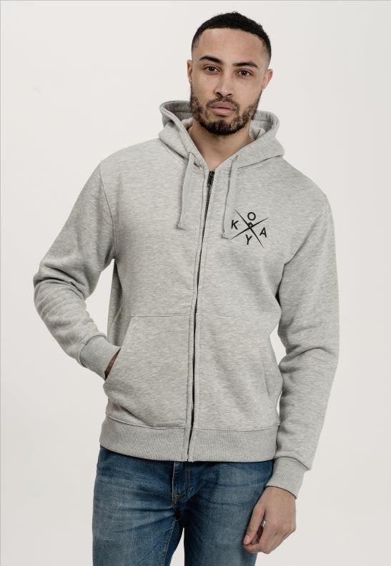 Owkay Clothing UNISEX TRACKSUIT ZIP-UP HOODIE HEATHER GREY