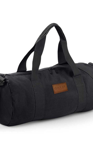 Owkay Clothing BARREL BAG BLACK/BLACK STRAPS
