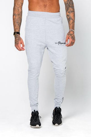 54 Floral EMBLEM SLIM JOGGER BOTTOM - HEATHER GREY