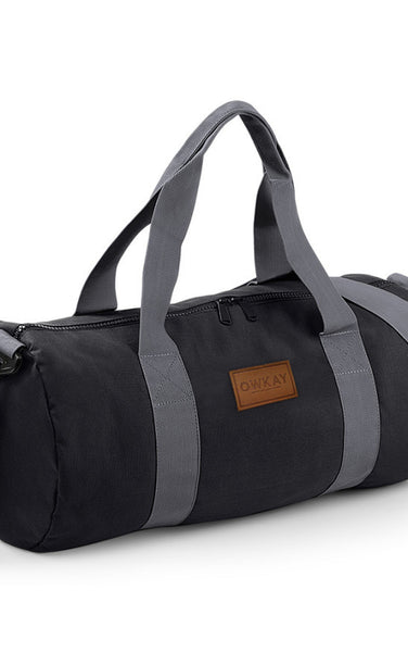 Owkay Clothing BARREL BAG BLACK/GREY STRAPS