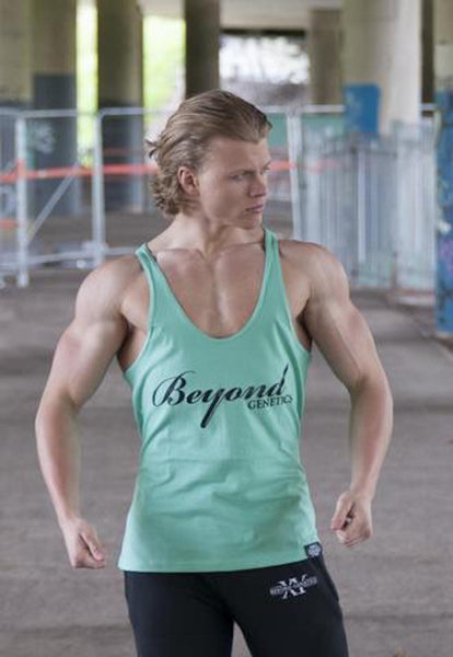 Beyond Genetics CORE FIT BODYBUILDING STRINGER VEST AQUA