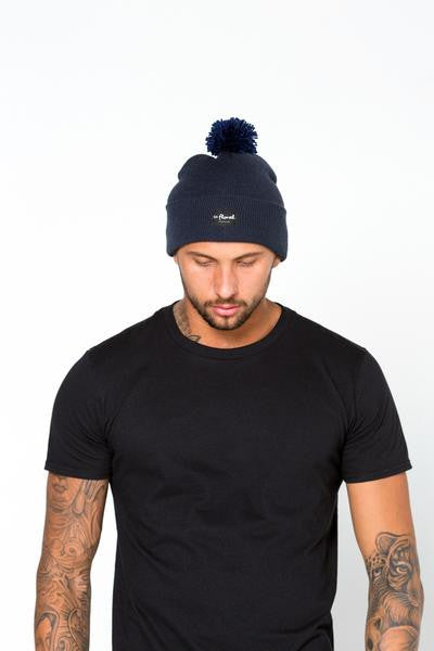 54 FLORAL SPECKLE BOBBLE BEANIE HAT | NAVY