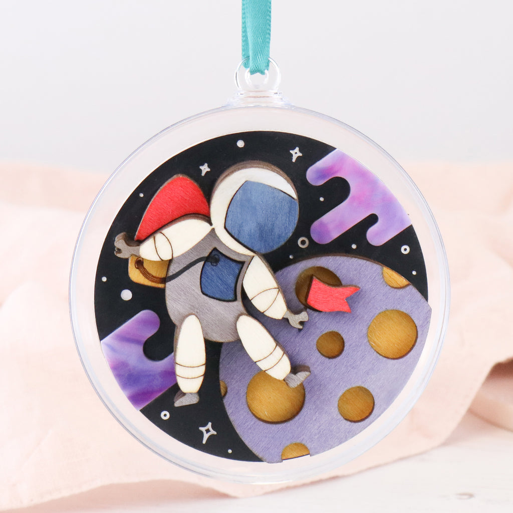 Astronaut on the Moon 3D Layered Bauble