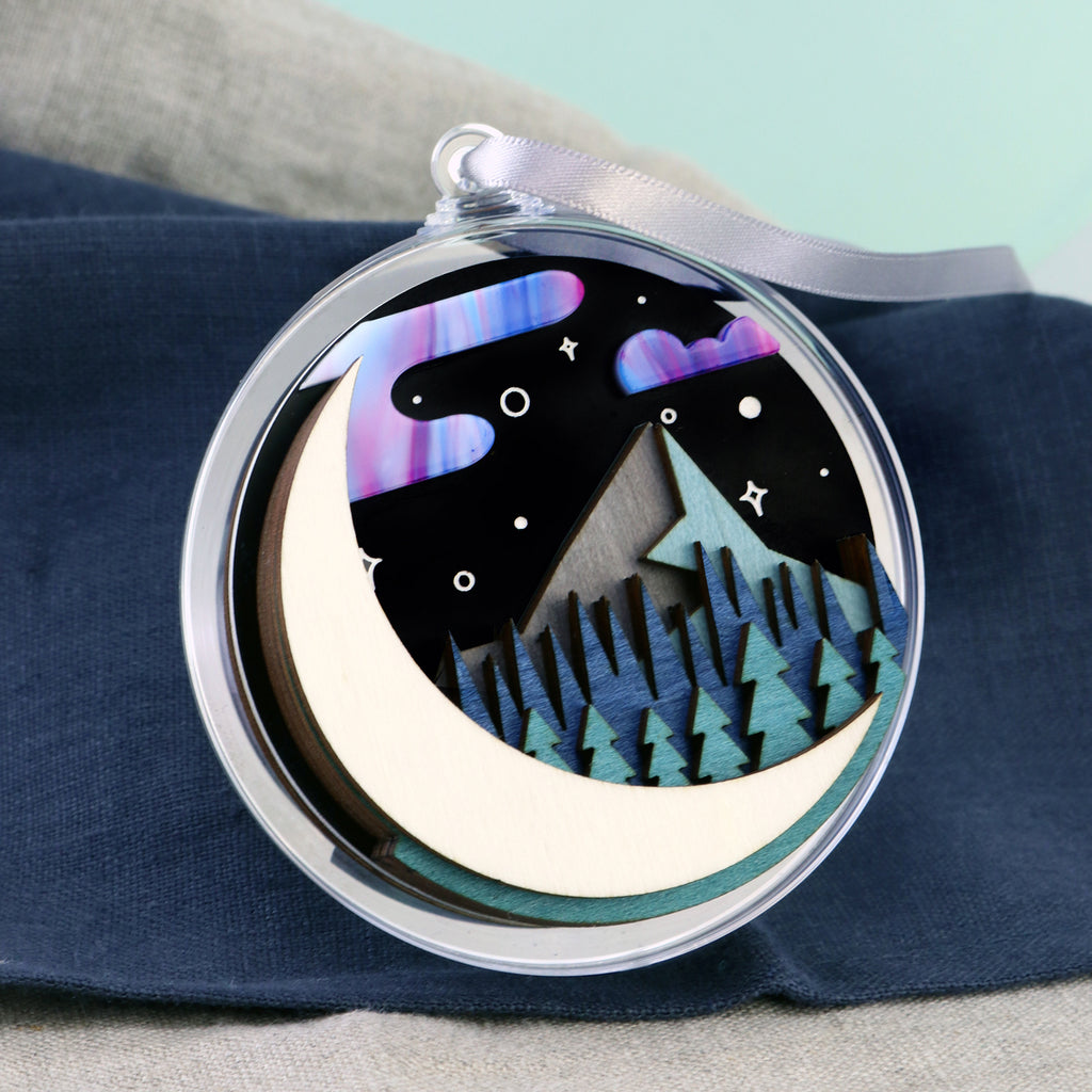 Moon and Mountain 3D Layered Bauble