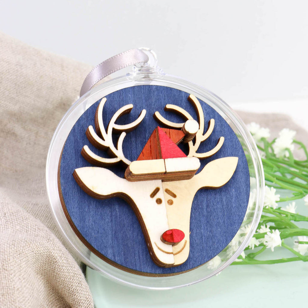 Rudolph 3D Layered Bauble