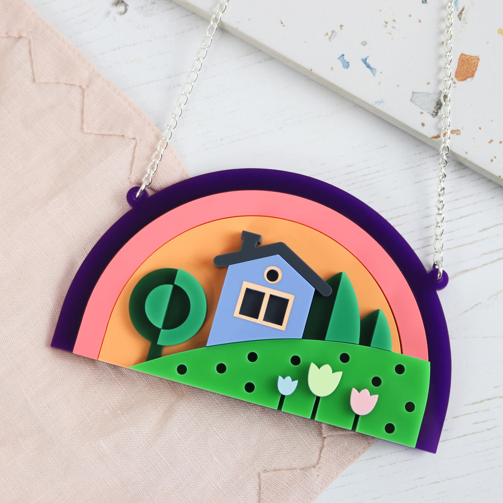 No Place Like Home 3D Layered Statement Necklace