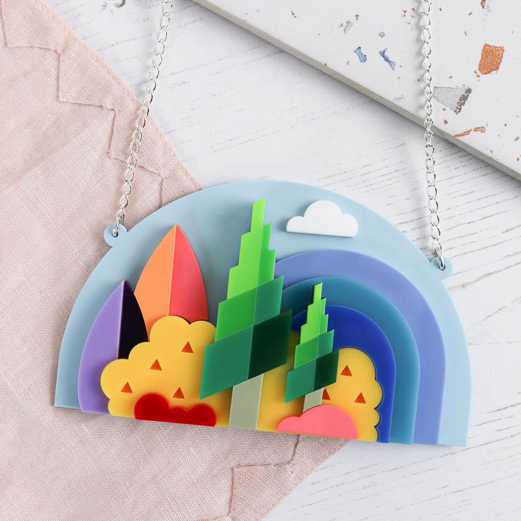 Rainbow Forrest 3D Layered Statement Necklace