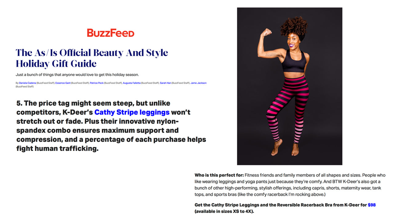 dba69f7968a11 Press Mentions About Our Striped Leggings | K-DEER