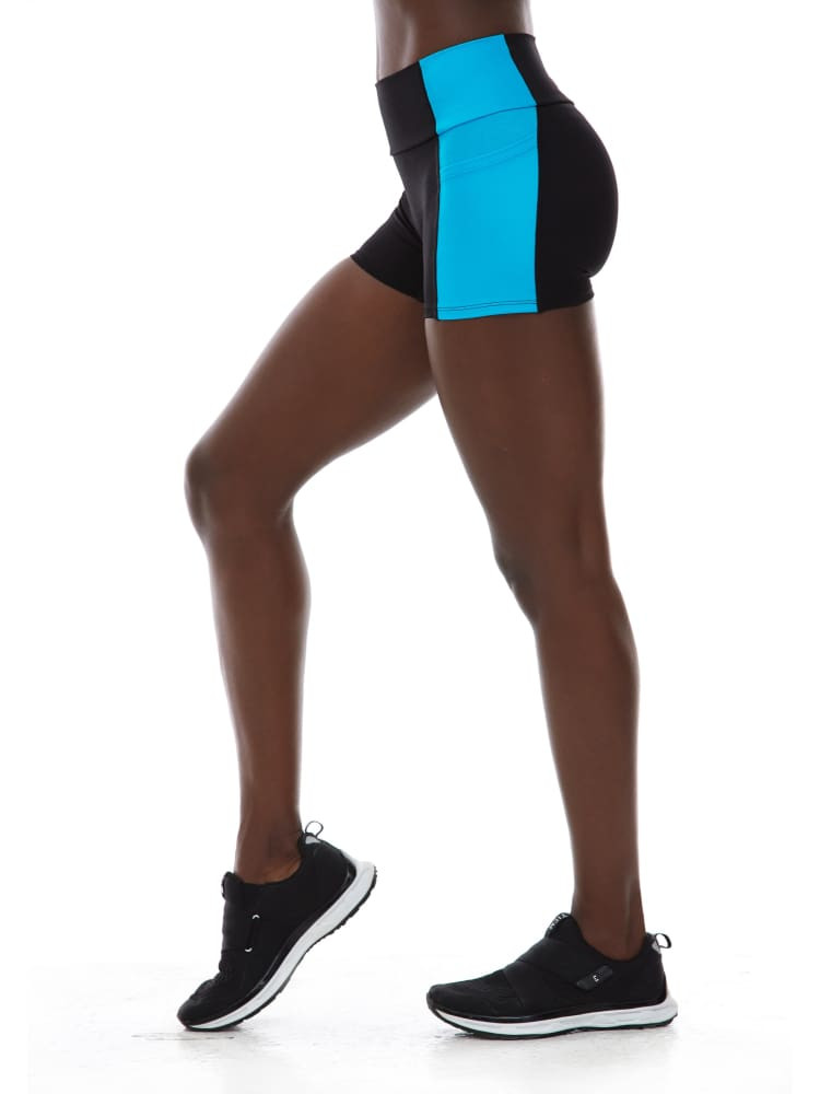 "3"" Pocket Short in Black/Turquoise"