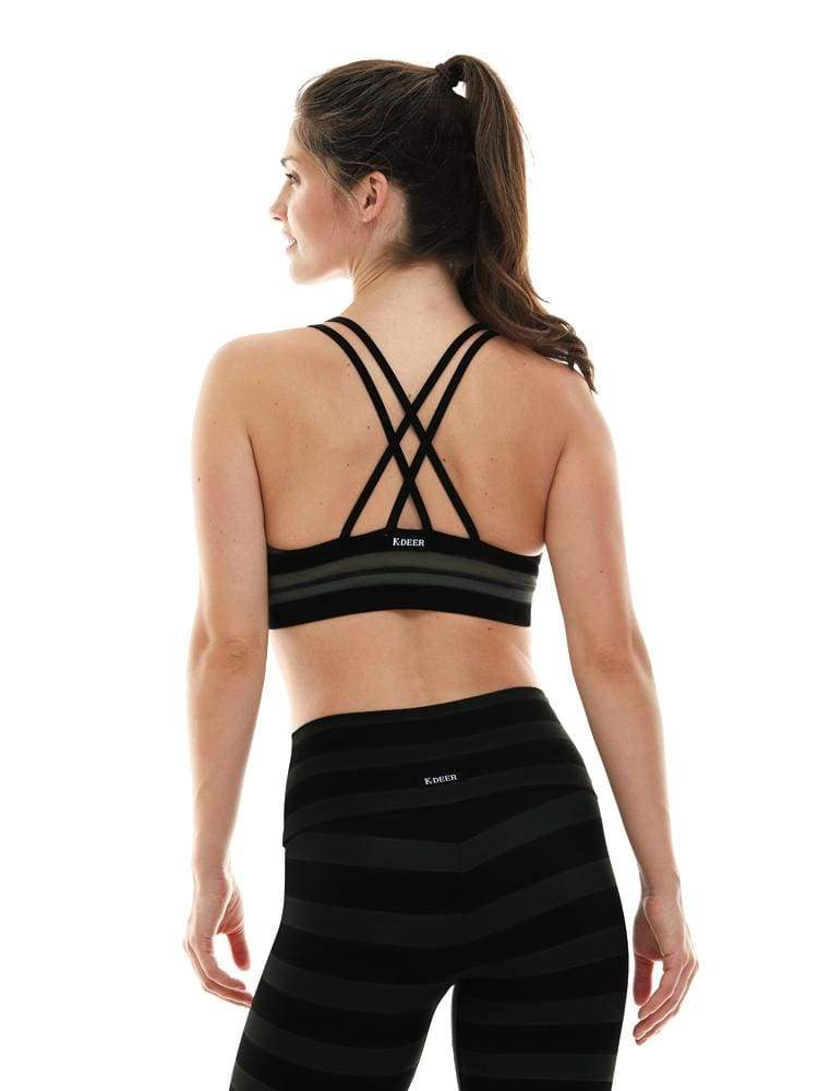 Criss Cross Sports Bra in Maranda Stripe - BRA TOP