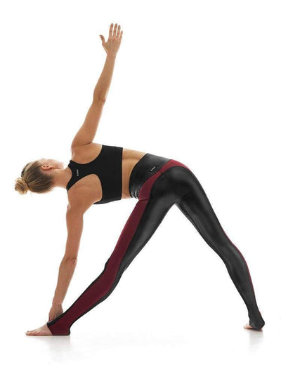 Hi-Luxe Racerback Legging in Black/Wine - LEGGINGS