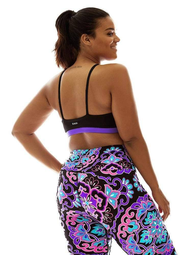 High Neck Bra Top in Black/Bright Purple - CROP TOP