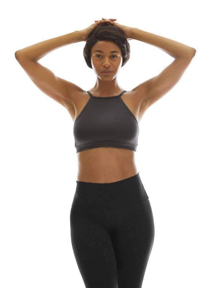 High Neck Bra Top in Charcoal - High Neck Bra Top