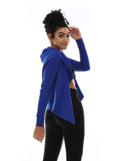 Hooded Cardigan in Royal - TRICOTS TOPS