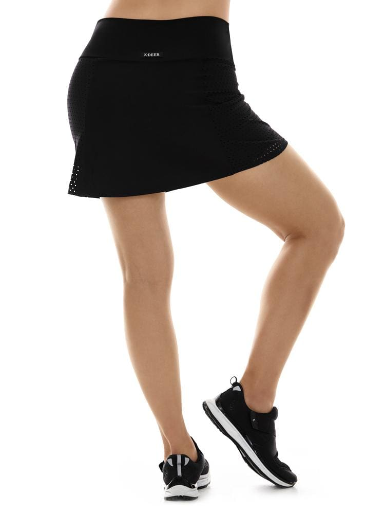 Laser Cut Skort in Black