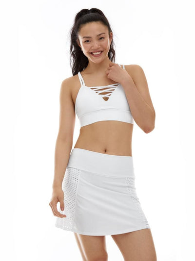 Laser Cut Skort in White