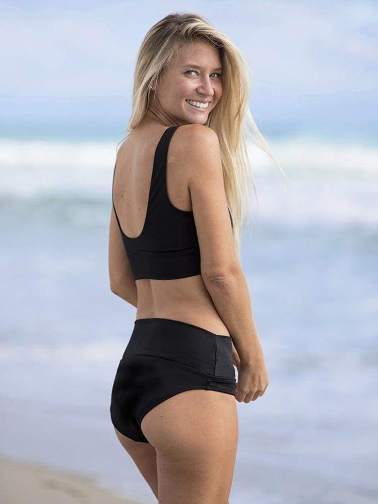 Long Line Bikini Bottom in Black - BUM-BUMS