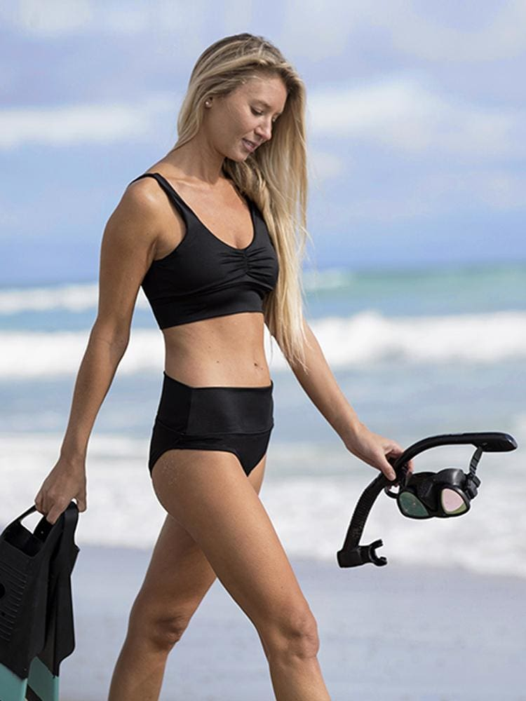 Long Line Bikini Top in Black - CROP TOP