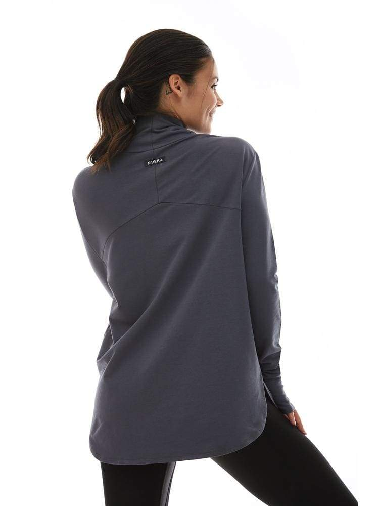 Long Sleeve Turtleneck in Charcoal - TRICOTS TOPS