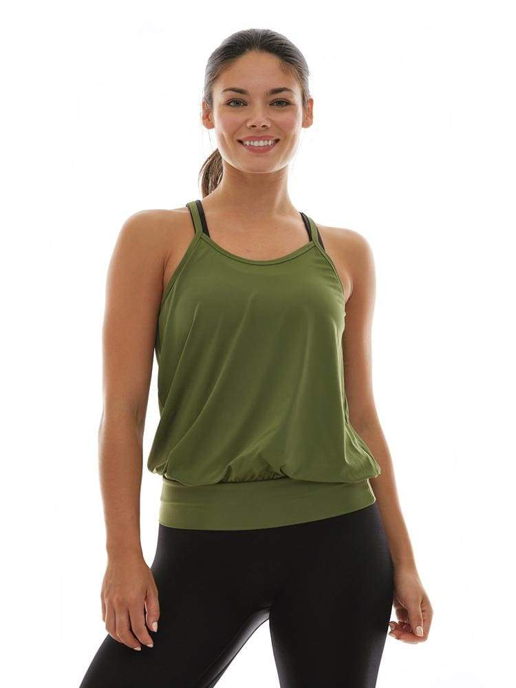 Microflex Flow Tank in Olive - TRICOTS TOPS